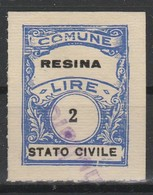 Resina. Marca Municipale Diritti Di Stato Civile L. 2 - Italie