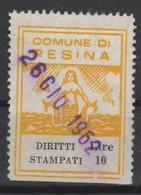 Resina. Marca Municipale Diritti Stampati L. 10 - Italie
