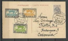 ESTLAND Estonia 1925 Postkarte Nach Tulln Österreich Mit Flugpostmarken Mi 48 - 51 B & 23 A Etc - Estland