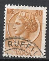 Italie - Italy - Italien 1955-60 Y&T N°719 - Michel N°939 (o) - 80l Monnaie Syracusaine - 1946-.. République