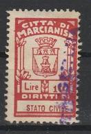 Marcianise. Marca Municipale Di Stato Civile L. 10, Sovrastampata SEGRETERIA ( Caratteri In Rosso) - Italie