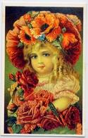Un Bambina - Con Incamatadi Rose - Riproduzione Da Originale - Cartoline
