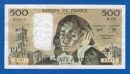 500 Fr  Du5/8/1982 - 500 F 1968-1993 ''Pascal''