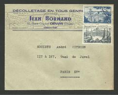 """Dpt. DOUBS - Enveloppe Commerciale """" Décolletage J. BORNAND """" à ORNANS / Facture 1957 - Marcophilie (Lettres)"""
