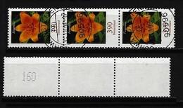 BUND - Rollenmarke Mi-Nr. 2534 R Im Dreierstreifen Blumen Gestempelt Zählnummer 160 - Rollenmarken