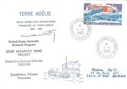 TAAF - Dumont D'Urville-T.Adélie: Lettre Avec Timbre Poste Aérienne N°62 Véhicule Antarctique HB40 Castor - 01/01/1983 - French Southern And Antarctic Territories (TAAF)