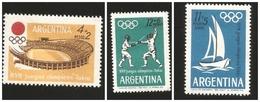 O) 1964 ARGENTINA, OLYMPIC GAMES-TOKYO, FENCER-STADIUM, MNH - Argentine