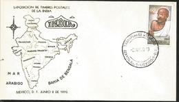 J) 1970 MEXICO, EXHIBITION OF POSTCARDS OF INDIA, MAP, SEA ARABIGO, BAHIA DE BENGALA, MAHATMA GANDHI, MAP, FDC - Mexique