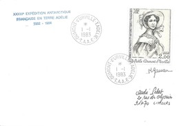 TAAF - Dumont D'Urville-T.Adélie: Lettre Avec Timbre Poste Aérienne N°68 Adèle Dumont D'Urville - 01/01/1983 - Terres Australes Et Antarctiques Françaises (TAAF)
