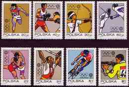 POLAND 1972 Mi 2149 - 2156 Olympiad In Munich Sports, Cycling, Boxing, Fencing, Shooting MNH** W 1201 - 1944-.... République