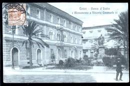 LECCE - 1918 - BANCA D'ITALIA E MONUMENTO A VITTORIO EMANUELE - Lecce