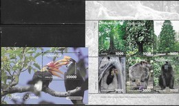 INDONESIA, 2019,  MNH, FAUNA AND FLORA, BIRDS, TOUCANS, MONKEYS, TREES, 6v+S/SHEET - Vögel