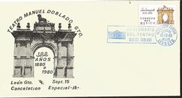 J) 1980 MEXICO, CENTENARY OF THE MANUEL DOBLADO GUANAJUATO THEATER, SPECIAL CANCELLATION, FDC - Mexico