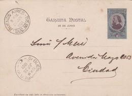 STATIONARY ENTIER TARJETA POSTAL ARGENTINA 2 CTVS CIRCULEE BUENOS AIRES 1901 - ESTATUA GENERAL SAN MARTIN - BLEUP - Postal Stationery