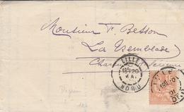 Cachet LILLE (Nord) Sur YT 117 - Au Dos Cachet LA TREMBLADE (Charente Maritime) - Lettre Crédit Du Nord - Postmark Collection (Covers)
