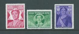 Tonga 1950 Queen Salote Birthday Set Of 3 MVLH - Tonga (...-1970)