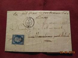 Lettre De 1859 à Destination De Villantoise - Poststempel (Briefe)