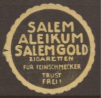 LETTER SEAL. ADVERTISING. GERMANY. CIGARETTES. SALEM ALEIKUM SALEM GOLD ZIGARETTEN FUR FEINSCHMECKER TRUST FREI. (SALEM - Werbung