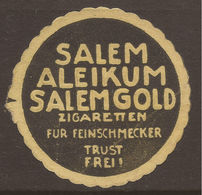 LETTER SEAL. ADVERTISING. GERMANY. CIGARETTES. SALEM ALEIKUM SALEM GOLD ZIGARETTEN FUR FEINSCHMECKER TRUST FREI. (SALEM - Publicités
