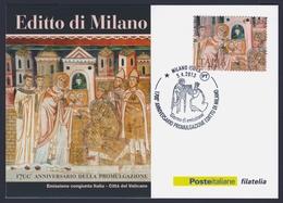 """2013 ITALIA REPUBBLICA """"EDITTO DI MILANO"""" CARTOLINA FILATELICA (ANN. MILANO) - 1946-.. République"""