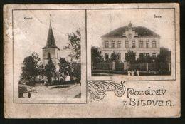 Czech Republic Old Postcard  Pozdrav Z BITOVAN ! Church, School - Tschechische Republik