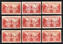 FRANCE 1940 - LOT 9 TP / Y.T. N° 453 - NEUFS** - Frankreich