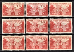 FRANCE 1940 - LOT 9 TP / Y.T. N° 453 - NEUFS** - Neufs