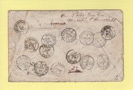 Multiples Reexpeditions Sur Lettre De Bar Le Duc - 28 Fevrier 1857 - Ambulants - Lorient Chatellerault Ligny En Barrois - Marcophilie (Lettres)