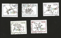 O) 1964 GERMANY, OLYMPIC GAMES TOKIO, BICYCLING-WOMAN DIVER-VOLLEYBALL-JUDO-TWO RUNNERS, CANCELLATION, XF - [6] République Démocratique