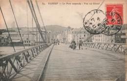 76 Elbeuf Le Pont Suspendu Vue Sur Elbeuf , Cpa Carte Animée - Elbeuf