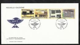 FDC Lettre Premier Jour Nouméa Le 24/06/1994 Bande N°658 à 661 Evolution Des Locaux De La Direction Des Postes  TB - Cartas