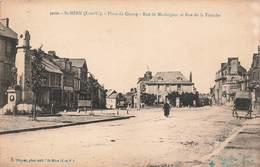35 St Saint Meen Le Grand Place Du Champ Rue De Merdrignac Et Rue De La Tranchemonument Aux Morts , Cpa Carte Animée - Autres Communes
