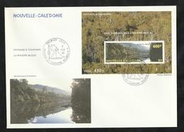 FDC Lettre Premier Jour Nouméa Le 05/02/1992 Bloc N°12 Paysages Et Tourisme Parc Naturel De La Rivière Bleue   TB - Protection De L'environnement & Climat