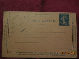 Entier Postal Carte-lettre Au Type Semeuse - Entiers Postaux