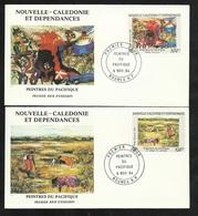 FDC 2 Lettres Illustrées Premier Jour Nouméa 08/11/1984 P.A.N°245 & 246 Peintres Mme Bonnet De Larbogne Et Pilioko TB - Modern