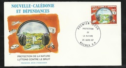 """FDC Lettre Illustrée Premier Jour Nouméa Le 25/03/1987 P.A.N°255 Protection De La Nature """"Luttons Contre Le Bruit""""  TB - Pollution"""