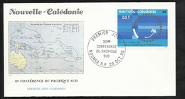FDC Lettre Illustrée Premier Jour Nouméa Le 29/10/1990 P.A.N°273  30ème Conférence Du Pacifique Sud   TB - Briefe U. Dokumente