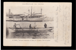 CEYLON Expédition De Chine - Pirogie Cingalaise En Rade De Colombo 1902 OLD POSTCARD - Sri Lanka (Ceylon)