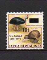 PAPUA NEW GUINEA, 1994 10t ON 35t OVERPRINT NZ BIRD MNH - Papua New Guinea