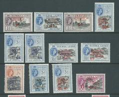 Sierra Leone 1963 Independence Anniversary Overprint Part Set 12 MLH - Sierra Leone (1961-...)