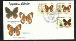 FDC Lettre Illustrée Premier Jour Nouméa Le 21/02/1990 Le  P.A.N°265 Et 266 Et Poste N° 590 Papillons TB - Papillons