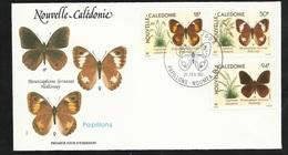 FDC Lettre Illustrée Premier Jour Nouméa Le 21/02/1990 Le  P.A.N°265 Et 266 Et Poste N° 590 Papillons TB - Schmetterlinge