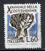 Italie - Italy - Italien 1958 Y&T N°757 - Michel N°1008 (o) - 60l Anniversaire De La Constitution - 1946-.. République