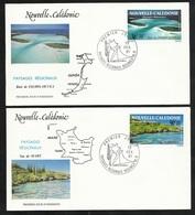 FDC 2 Lettres Illustrées Premier Jour Nouméa Le 13/02/1991 Les  P.A.N° 276 Et 277 Paysages Régionaux  TB - Cartas