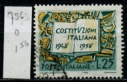 Italie - Italy - Italien 1958 Y&T N°756 - Michel N°1007 (o) - 25l Anniversaire De La Constitution - 1946-.. République