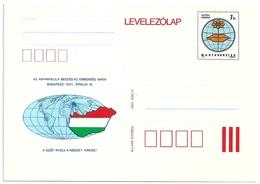 0593c Hungary Postcard Map Geography Globe Unused - Languages