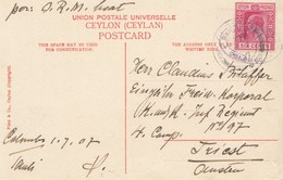 Ceylon1907 Picture Post Card Colombo Pork Street To Inf. Regiment Triest/Austria - Sri Lanka (Ceylon) (1948-...)