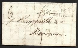 Charente Inferieure-Lettre Avec Marque 16 SAINTES (31*11)-Pour Bordeaux - Marcophilie (Lettres)