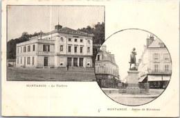 45 MONTARGIS - Carte Souble Vues, Théatre Et Statue De Mirabeau - Montargis
