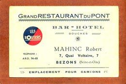 95   Carton Publicitaire  12.5x8    BEZONS  Grand Restaurant Du Pont  Bon état (traces D'usage) - Bezons